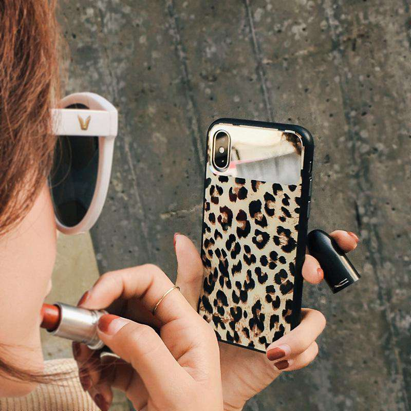 Leopard Print Pattern Case With A Mirror Special Designed For iPhone