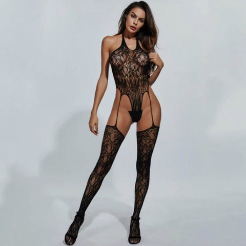 Sexy Halter Side Cut Out Fishnet Bodystocking ( 3 Pcs)