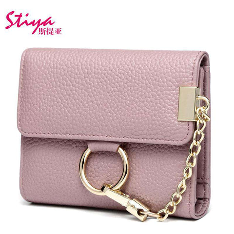 Korean Style Short Sized Cow Leather Wallet With Chain And Ring Elements gallery 2