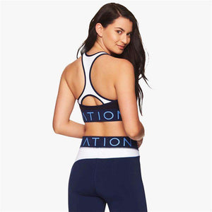 Letter Printed Patchwork Sports Bra & Pants Leggings Yoga Set