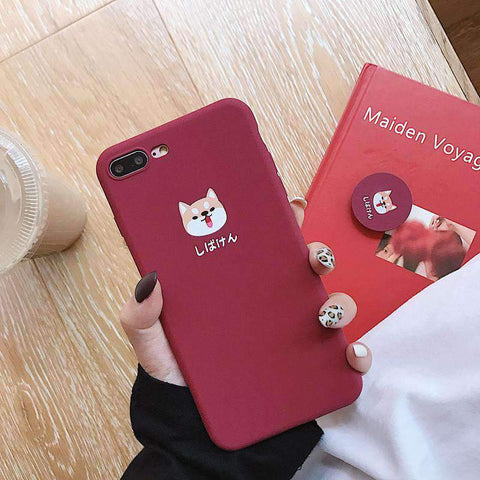 Cute Cartoon Red Dog Phone Case for Samsung with Phone Holder and Strap gallery 4