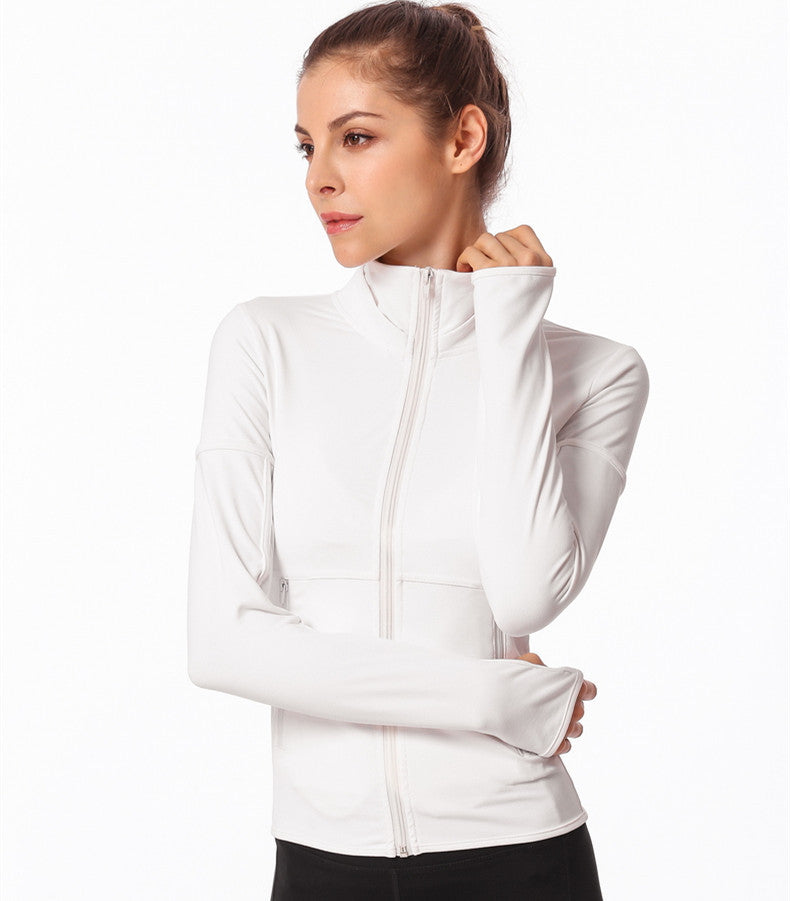 Zip Up Sports Top with Thumb Holes