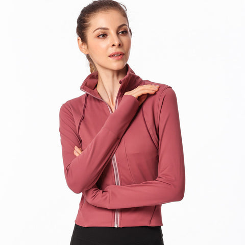 Zip Up Pocket Sports Top with Thumb Holes