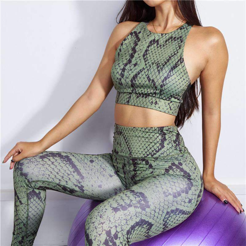 Chic Snake Pattern Sports Top & Pants Leggings Yoga Set