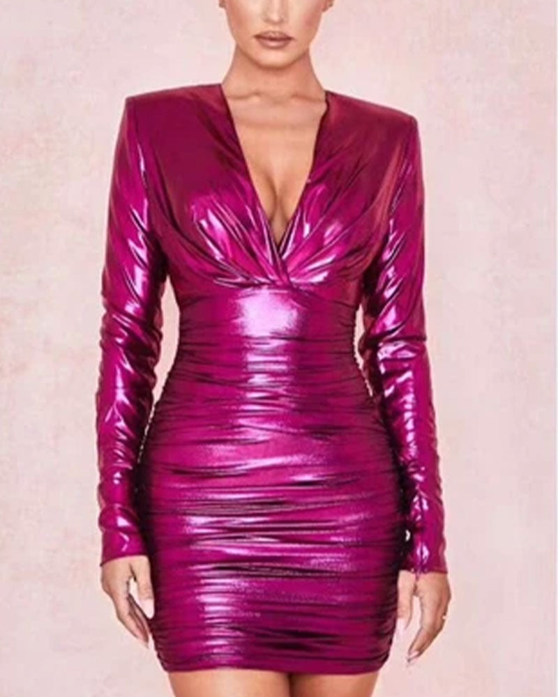Glossy Hot Pink Padded Shoulder Ruched Nipped Waist Mini Dress
