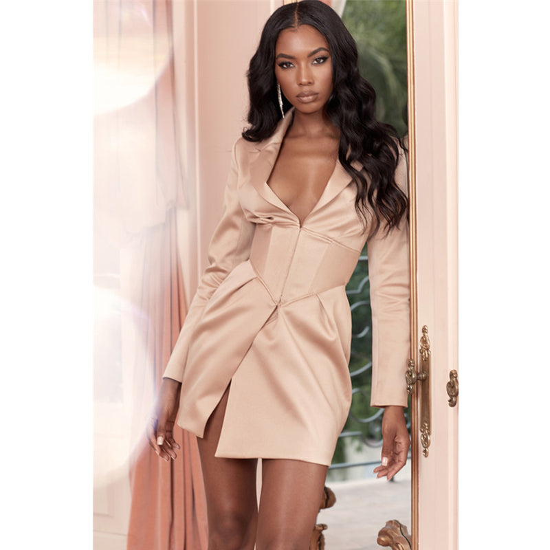 Long Sleeve Waistband Detail Deep V Blazer Dress