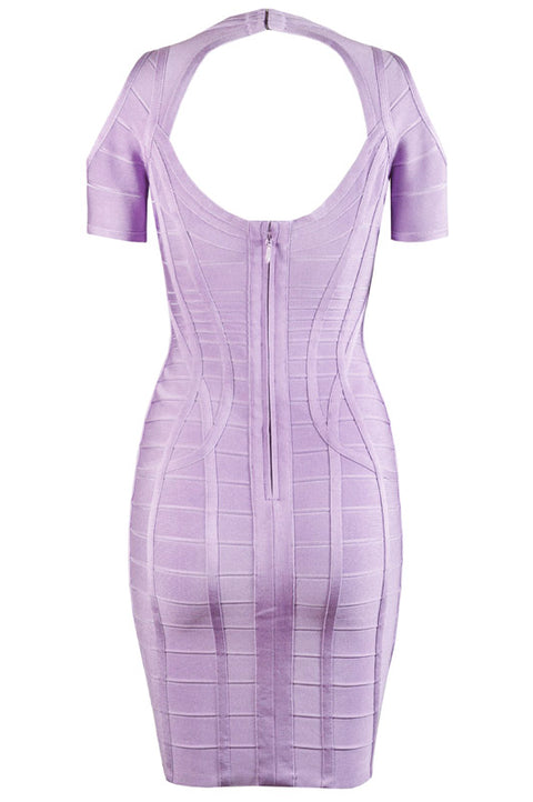 Sexy V-neck Strappy Cut-out Shoulder Bandage Dress gallery 4