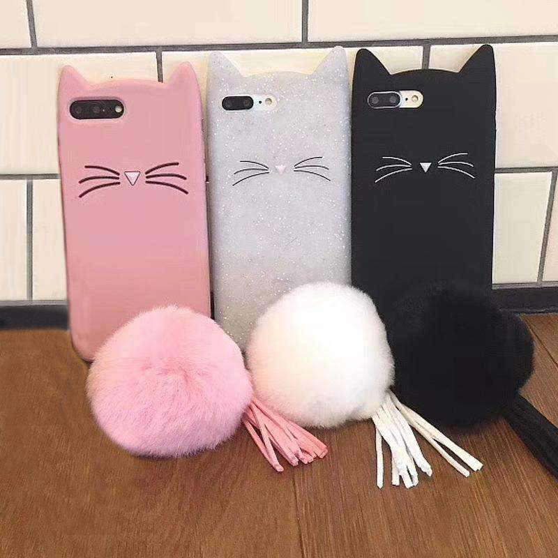 Cute Cat Pattern Phone Case for Samsung with Fuzzy Furry Plush Ball