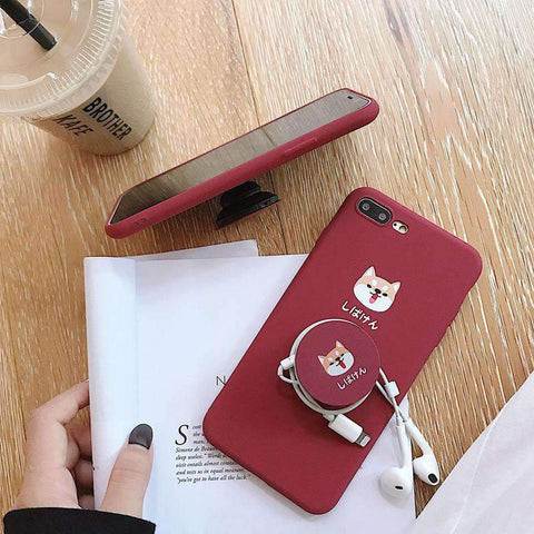 Cute Cartoon Red Dog Phone Case for Samsung with Phone Holder and Strap gallery 3