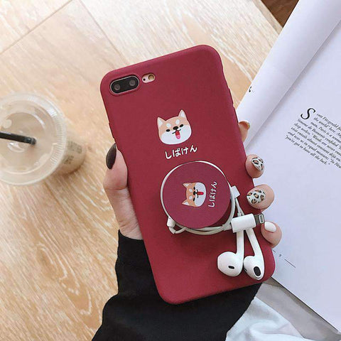 Cute Cartoon Red Dog Phone Case for Samsung with Phone Holder and Strap gallery 5
