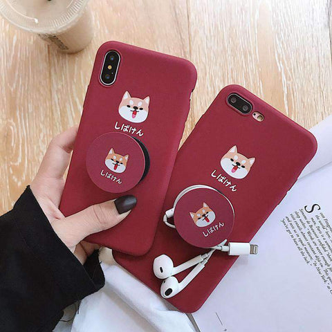Cute Cartoon Red Dog Phone Case for Samsung with Phone Holder and Strap gallery 1
