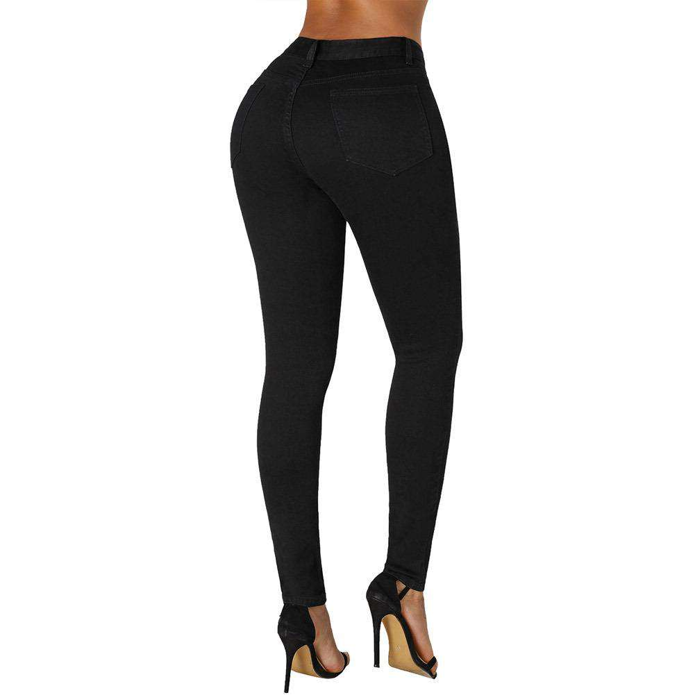 Women's Big Size Black Slim Pencil Jeans