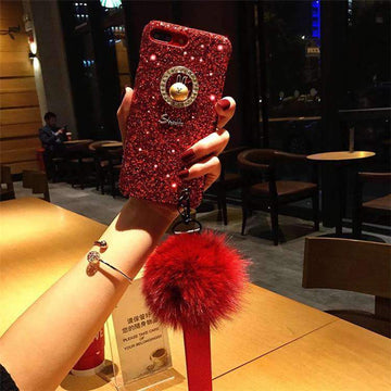Chic Sparkling Phone Case With Fuzzy Furry Plush Ball & Rope For All Apple Phone