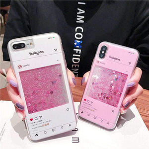 Girly Heart Print Creative Chat Page Liquid Bling Glitter Samsung Case