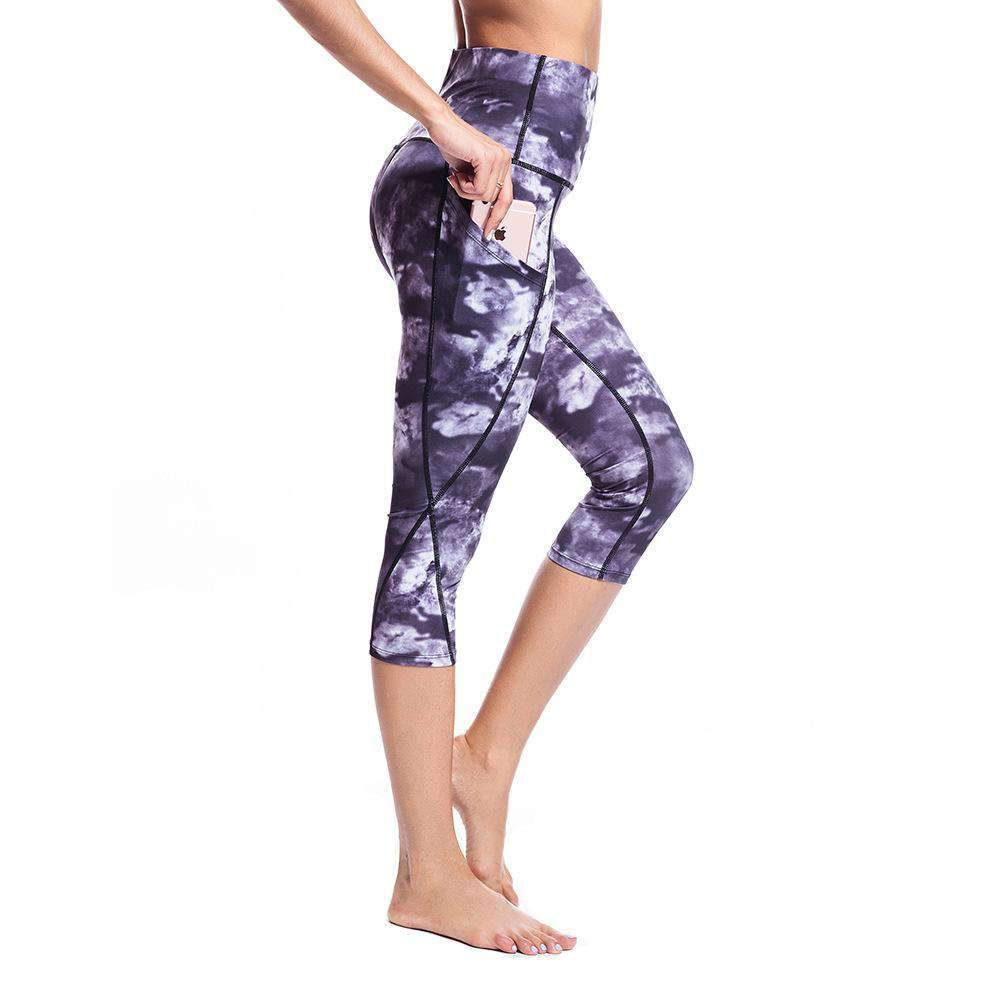 High Waist Side Pocket Printed Yoga Capri Leggings