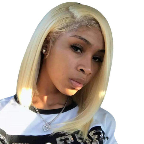 Brazilian Blonde Bob Human Hair Whole Head with Lace Frontal gallery 1