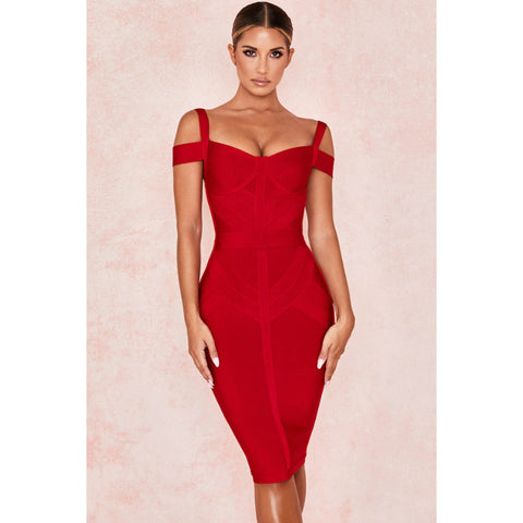 Off Shoulder Spaghetti Strap Zip Back Slim Dress