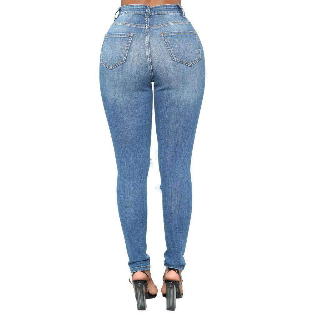 Ripped Slim High Waist Women's Denim Pencil Pant