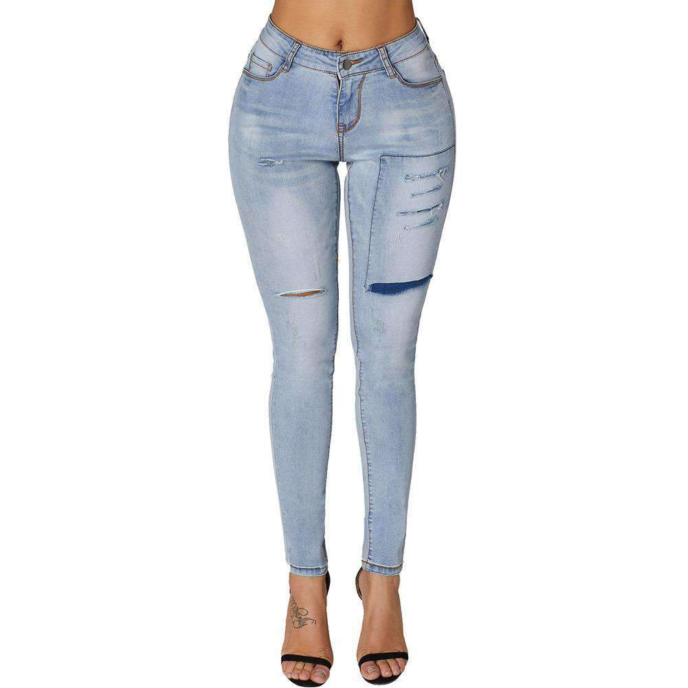 High Waist Ripped Trendy Pencil Jeans
