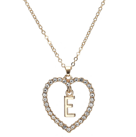 Gold Diamante Heart Shape Initial Pendant Necklace gallery 6