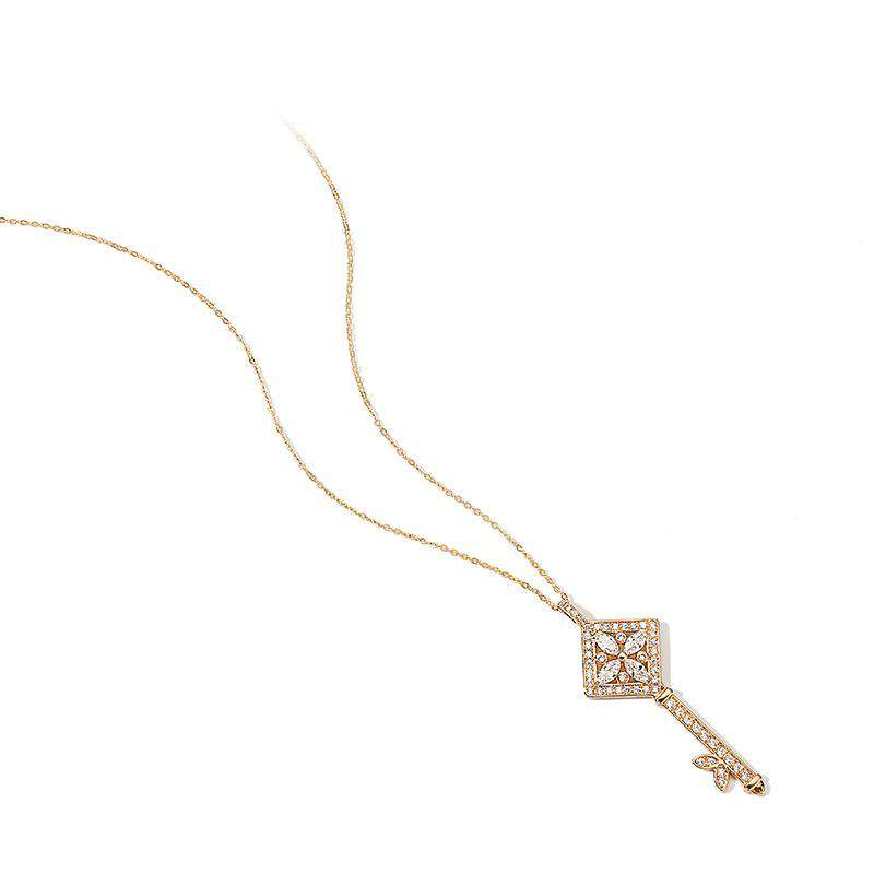 ZEGL Korean Style Trendy Long Sized All-Match Necklace With Shining Key Shaped Pendant For Sweater