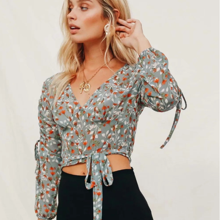 V-neck Cross Tie Chiffon Floral Printed Blouse
