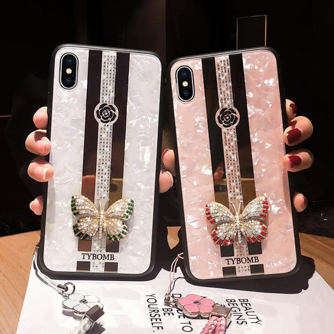 Butterfly Rhinestone Mirror iPhone Case with Hand Strap