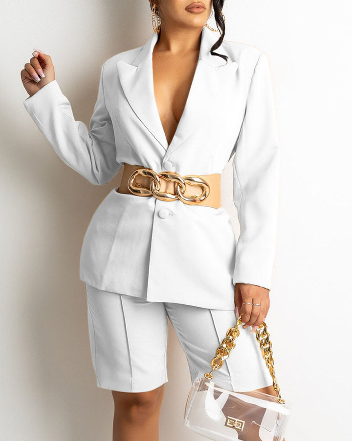 Solid Button Front Blazer & Shorts Set Without Belt gallery 1