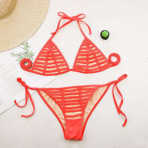 Netted Transparent with Tied Side Bikini Set Swimsuit