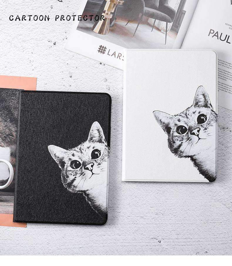 Cute Curious Cat Painted Magnetic Flip Apple iPad Cover Case