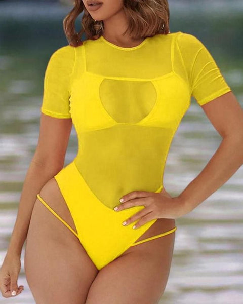 Sheer Mesh Cutout One Piece Swimsuit gallery 3