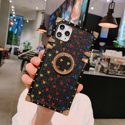 Glittering Little Heart Rivet Deco Square Phone Case for Samsung with Phone Holder gallery 3