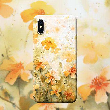 Literary Style Floral Print Silicon Phone Case For All iPhone