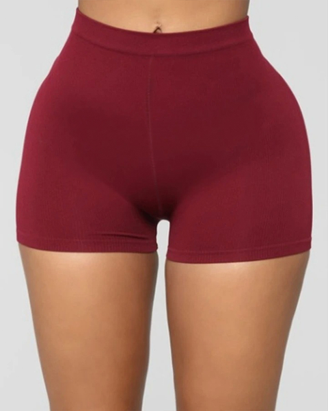 Solid Ribbed High Waist Shorts gallery 5