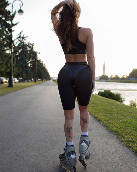 Faux Leather Patchwork Butt Lifting Biker Shorts gallery 2
