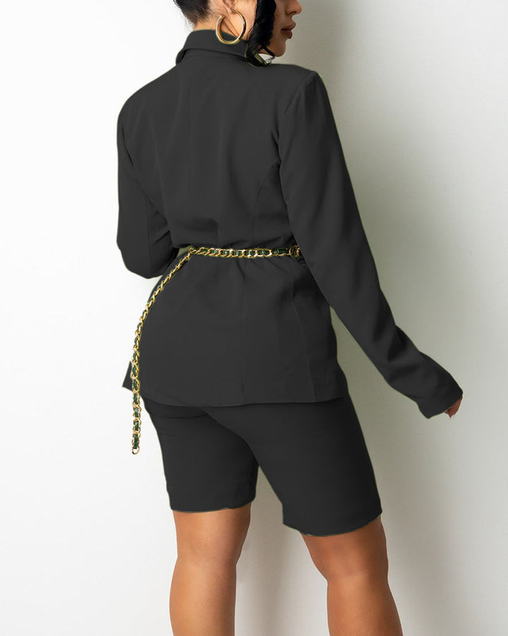 Solid Button Front Blazer & Shorts Set Without Belt gallery 8