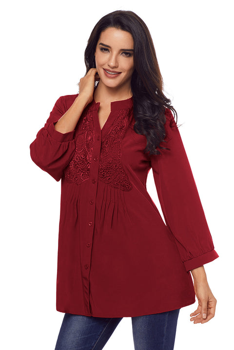 Wine Lace and Pleated Detail Button up Blouse gallery 4