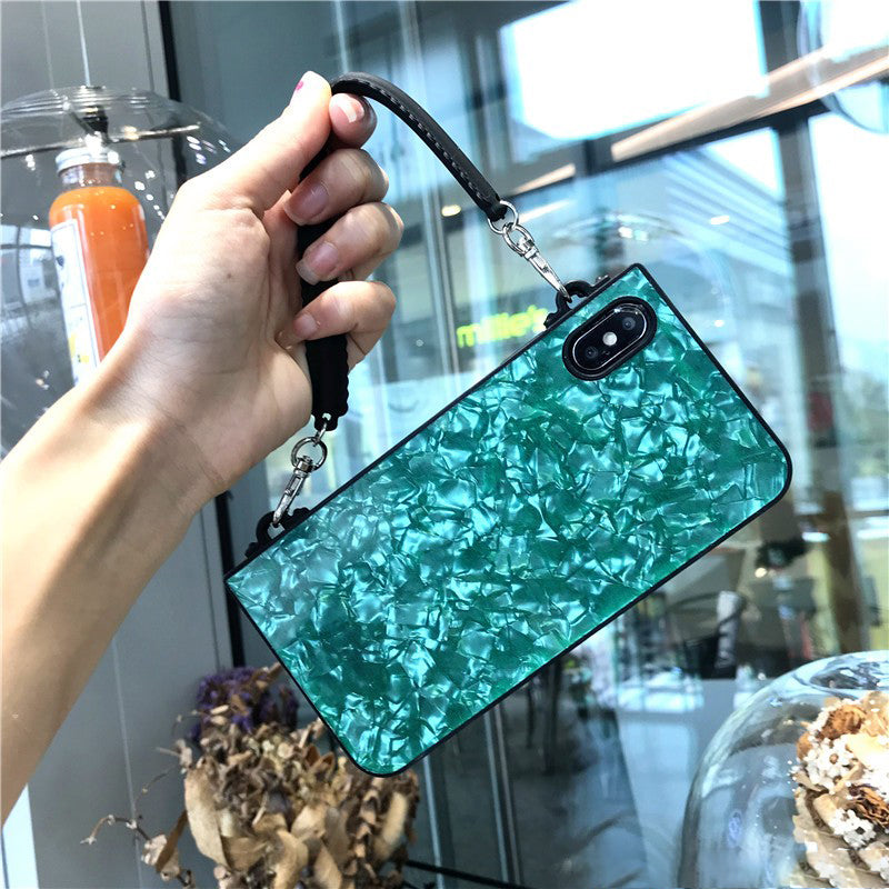 Shell Print Phone Case For All iPhone with Rope & Handle