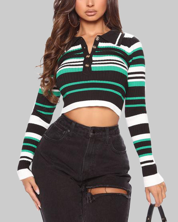 Striped Button Up Bodycon Crop Sweater gallery 2