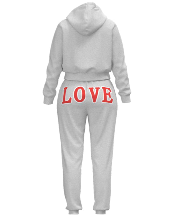 Extra Warm Letter Print Hoodie Pouch Pocket Top & Pants Set gallery 4