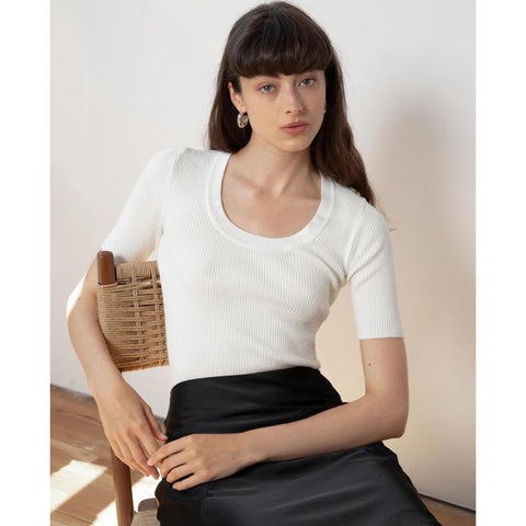 Ivory Scoop Neck Ribbed Short Sleeve Knit Top gallery 1