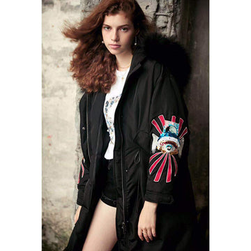 Fashion Black Racoon Fur Collar Embroid Sleeves Mid-Long Puffer Jacket