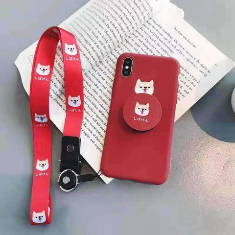 Cute Cartoon Red Dog Phone Case for Samsung with Phone Holder and Strap gallery 6