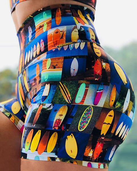 Allover Print Butt Lifting Wide Waistband Sports Shorts gallery 2