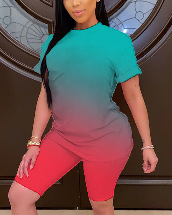 Ombre Short Sleeve Top & Shorts Set gallery 2