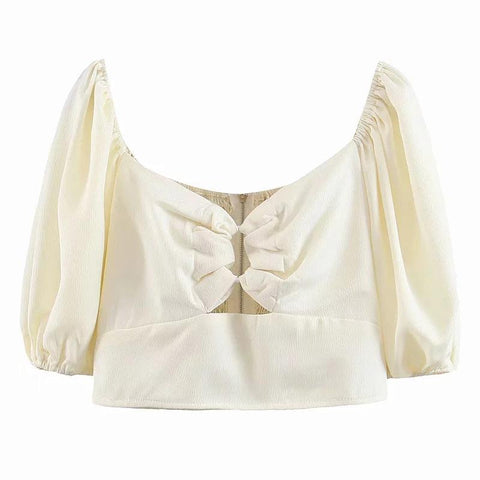Chic Puff Sleeve Knot Front Zip Back Cropped Blouse gallery 5