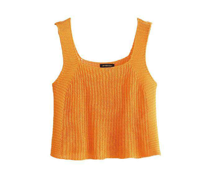 Multicolor Color Knitted Cami Top