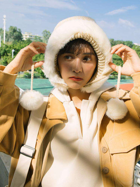 Women's Winter Cute Thick Conical Ear hat gallery 4