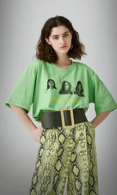 Free Size Print Crew Neck Loose T Shirt gallery 1