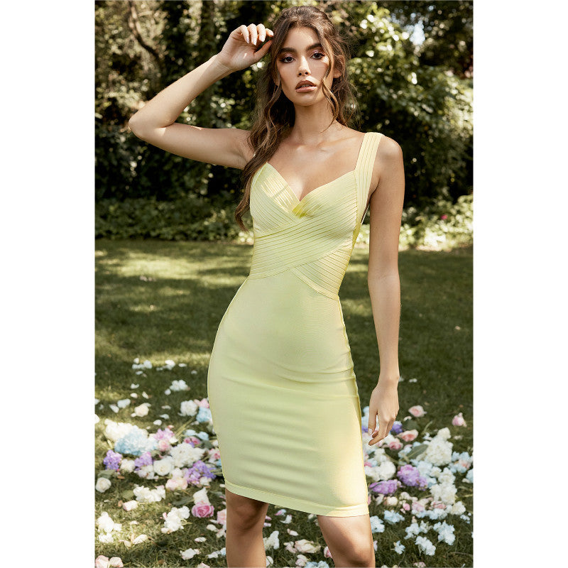 Pale Lime Cross Buse Midi Dress